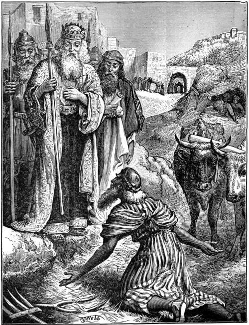 Ornan the Jebusite offers his threshing room floor for sacrifice